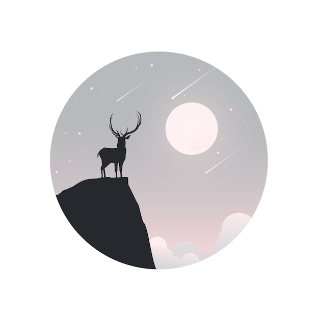 Illustration of winter season and christmas day. deer and a moon in background. Premium Vector