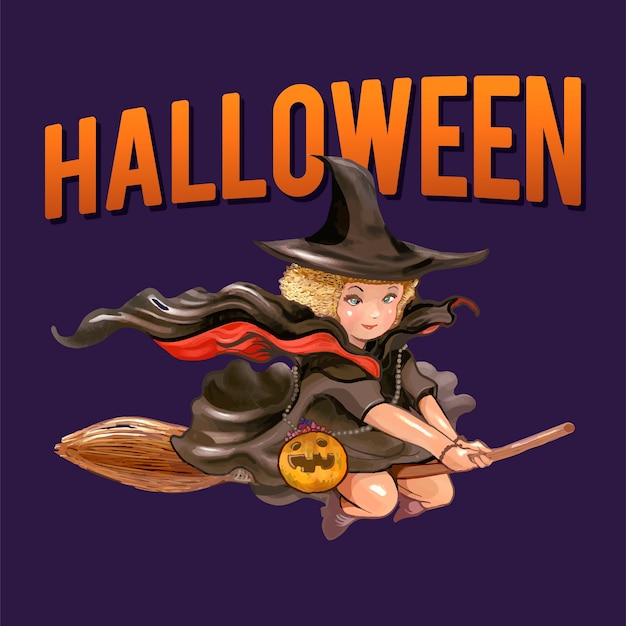 Illustration of a witch for halloween Free Vector