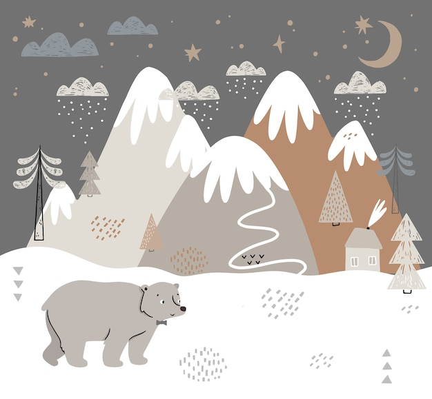 クマ、山、木、雲、雪、家のイラスト。子供のためのスカンジナビアスタイルの手描きの冬のイラスト。テキスタイル、ポストカード、ベビーシャワー、ベビーウェア、保育園用。 Premiumベクター