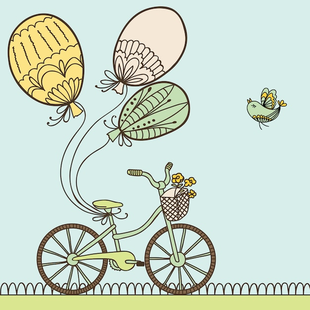 Illustration with bicycle, balloons and place for your text. Premium Vector