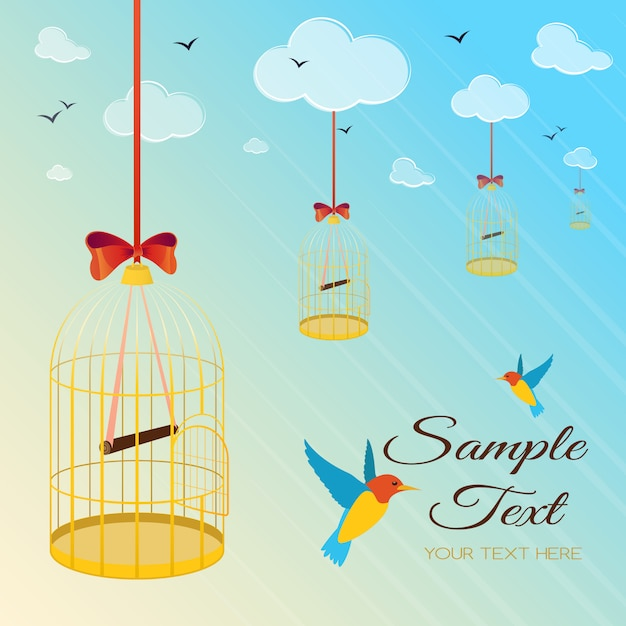 Illustration with birds and birdcage soaring in the sky Premium Vector