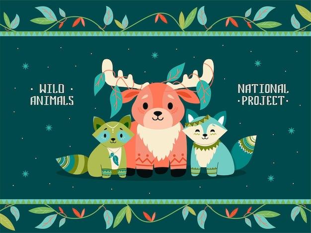 自由奔放に生きる動物のイラスト。かわいいアライグマ、キツネ、装飾が施されたトナカイ 無料ベクター