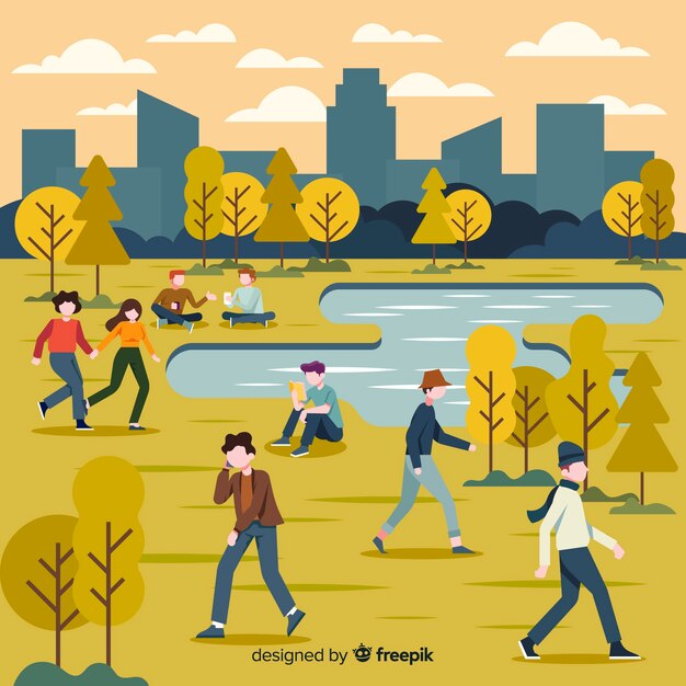 Illustration with characters autumn in park Free Vector