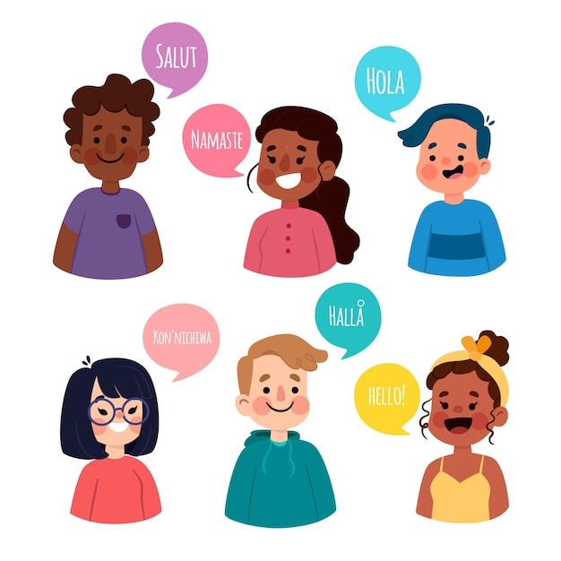 Illustration with characters talking different languages Free Vector