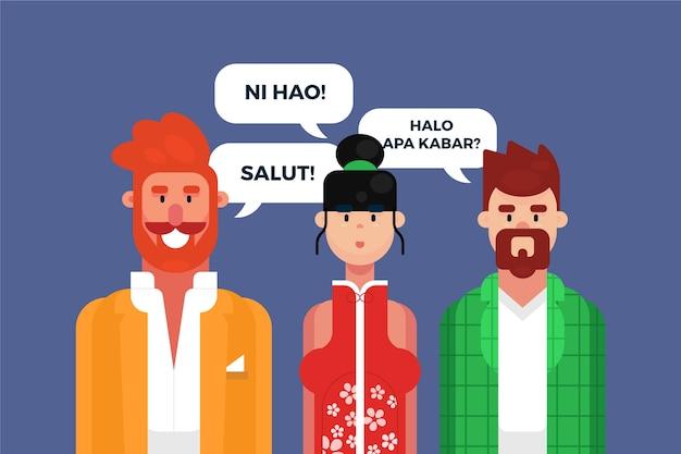 Иллюстрация с персонажами, разговаривающими на разных языках Бесплатные векторы