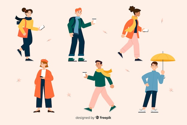 Illustration with characters wearing autumn clothes Free Vector