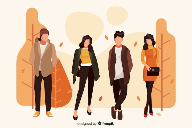 Illustration with characters wearing clothes Free Vector