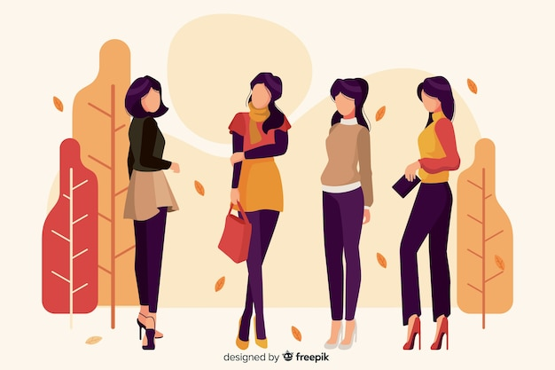 Illustration with characters wearing seasonal clothes Free Vector