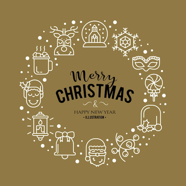 Illustration with christmas icons. modern trendy design. Free Vector