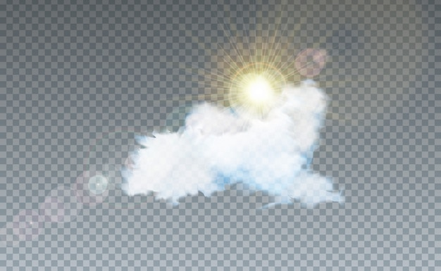 Illustration with cloud and sunlight isolated on transparent Premium Vector