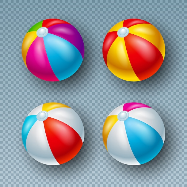 Illustration with colorful beach ball collection isolated on transparent Premium Vector