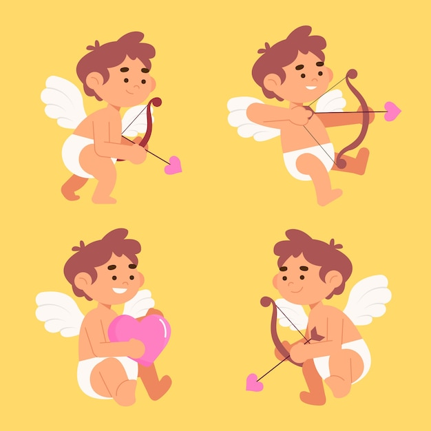 Illustration with cupid character collection Free Vector