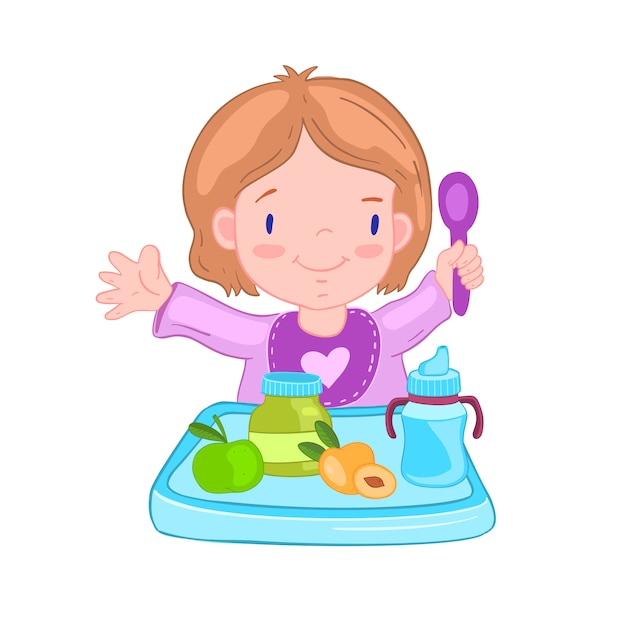 Illustration with cute baby girl in a bib with spoon near the table. Premium Vector