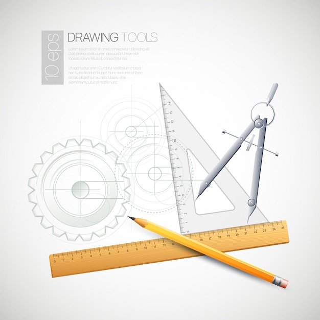 Illustration with drawing tools Premium Vector