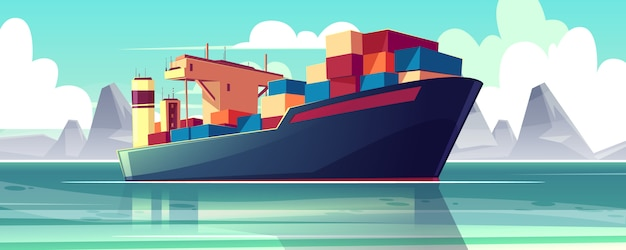 Illustration with a dry-cargo ship at sea, ocean. commerce shipping, delivery of goods. Free Vector