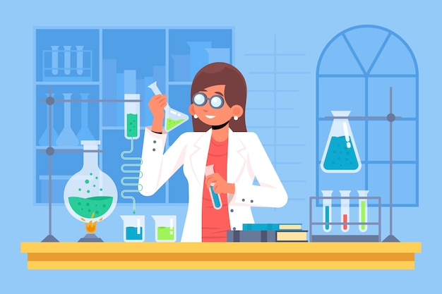 Illustration with female scientist concept Free Vector