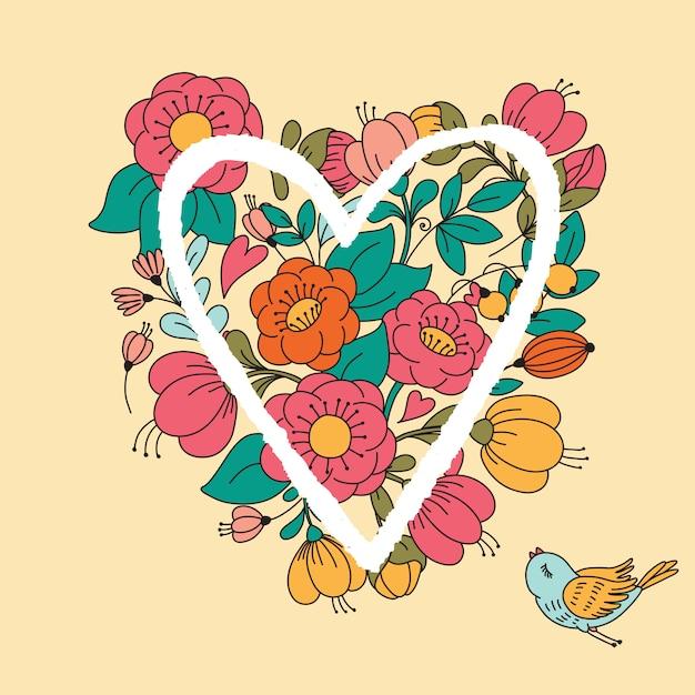 Illustration with flower heart. Premium Vector