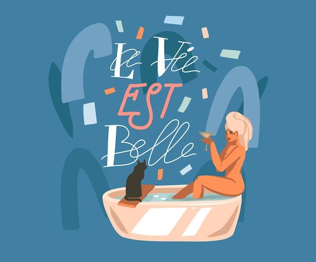 Illustration, with french quote la vie est belle meaning life is beautiful in english lettering and washing woman. Premium Vector