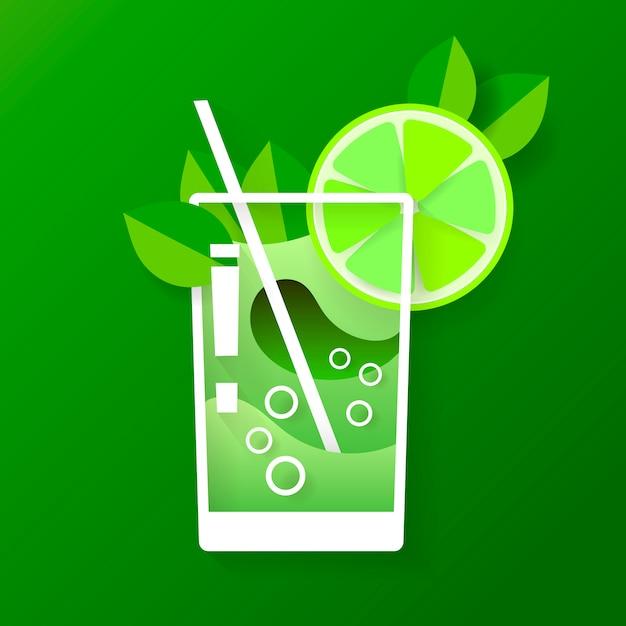 Illustration with glass of mojito in flat design . Premium Vector
