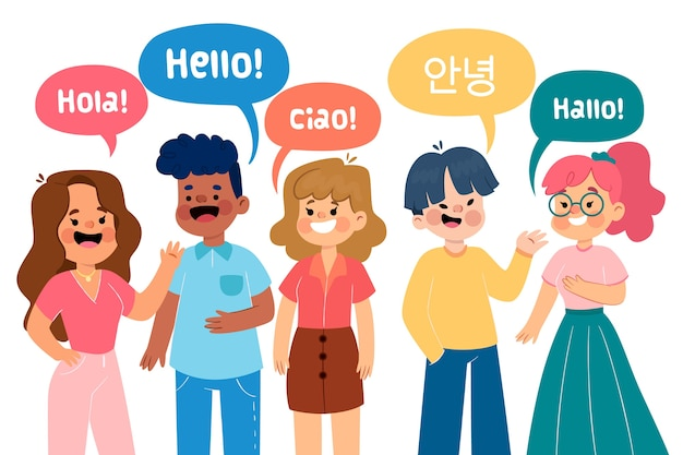 Illustration with group of people talking Free Vector