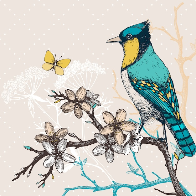 Illustration with hand draw bird on blooming tree twig. vintage sketch of green bird with butterfly and flowers. Premium Vector
