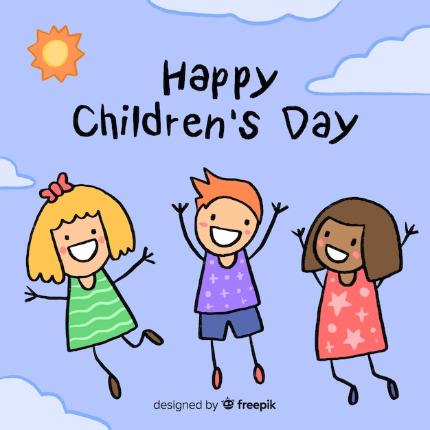 Illustration with happy children day message Free Vector