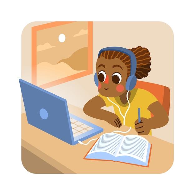 Иллюстрация с детьми брать уроки Бесплатные векторы