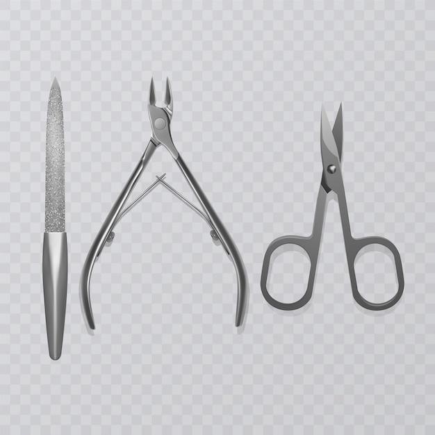 매니큐어 도구, 네일 파일, 현실적인 가위 및 큐티클 리무버 클리퍼가있는 그림 프리미엄 벡터