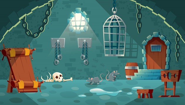 Illustration with medieval prison cell. castle dungeon, room for prisoners Free Vector