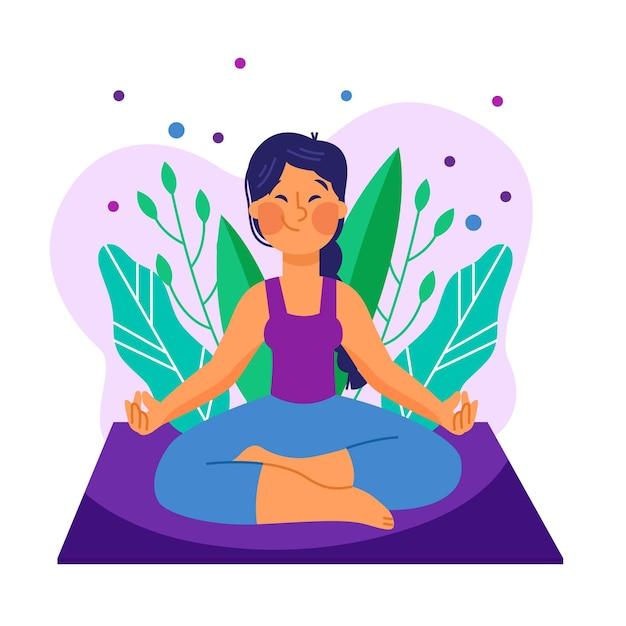 Иллюстрация с медитацией Бесплатные векторы
