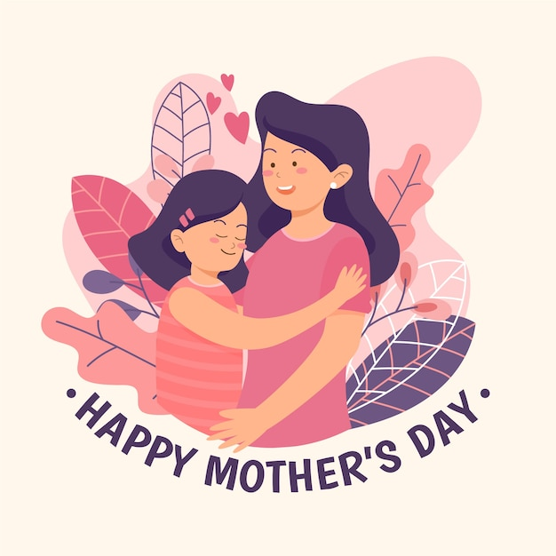 Illustration with mothers day theme Premium Vector