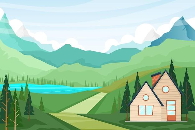 여름 시골 자연 장면, 산, 호수의 집과 소나무의 자연 풍경 풍경 그림 무료 벡터