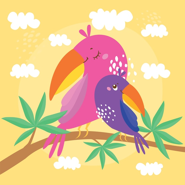 Illustration with parrots, mom and baby are sitting on a branch of an exotic tree Free Vector