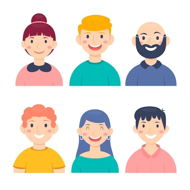 Illustration with people avatars design Free Vector