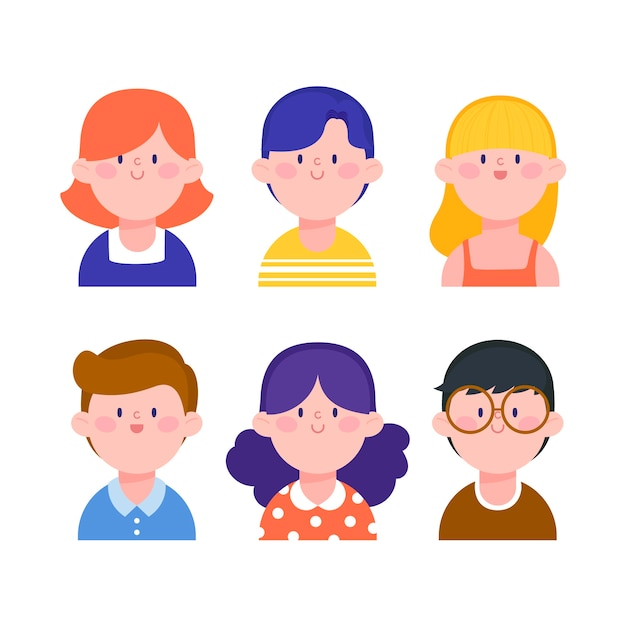 Illustration with people avatars style Free Vector