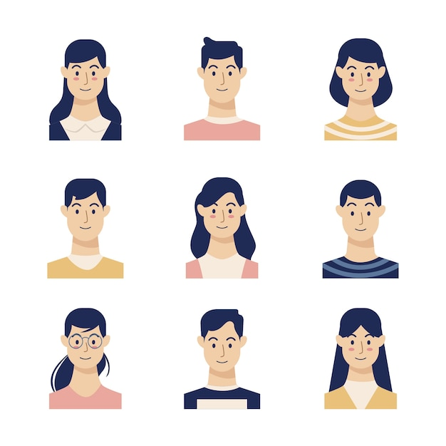 Illustration with people avatars theme Free Vector