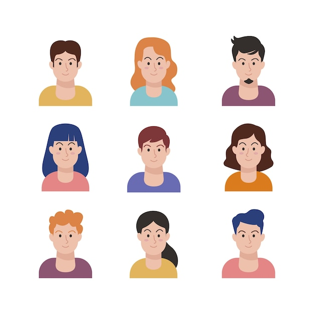 Illustration with people avatars Free Vector