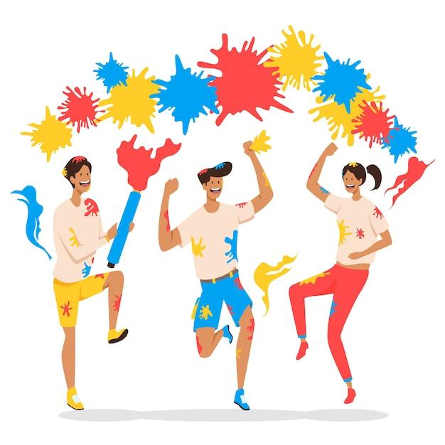 Иллюстрация с людьми, празднующими праздник холи Бесплатные векторы
