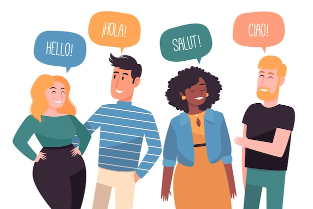 Illustration with people talking in different languages Premium Vector