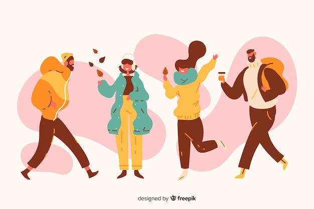Illustration with people wearing autumn clothes Free Vector