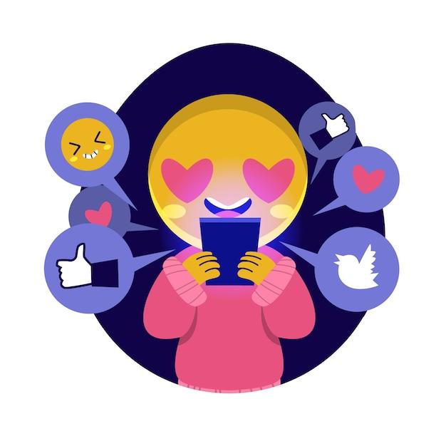 Illustrazione con persona dipendente dai social media Vettore gratuito