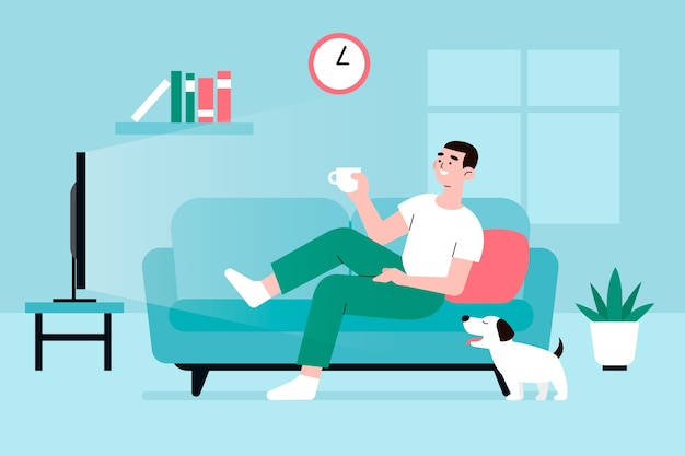 Illustration with person relaxing at home Free Vector