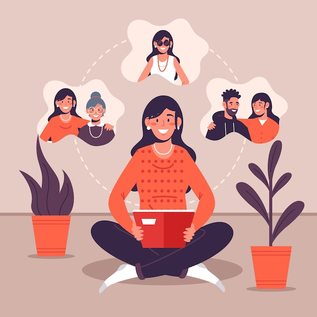 Illustration with personal memories Free Vector