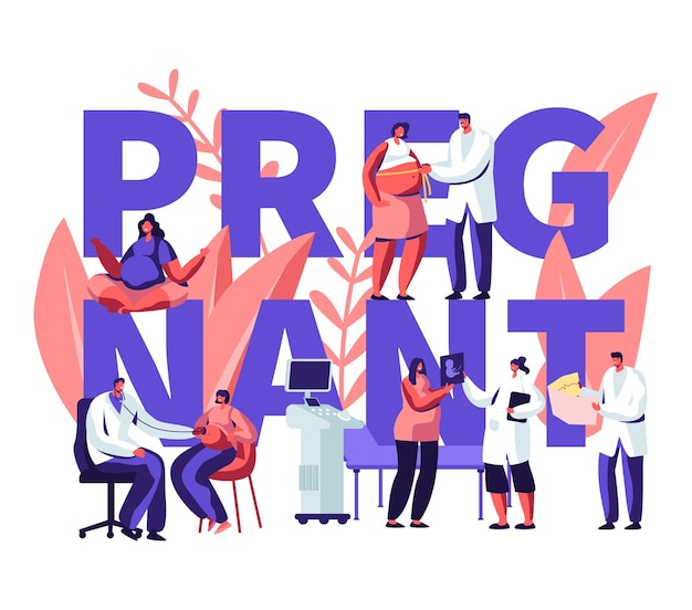 Illustration with pregnant woman at doctor appointment in clinic and text Premium Vector
