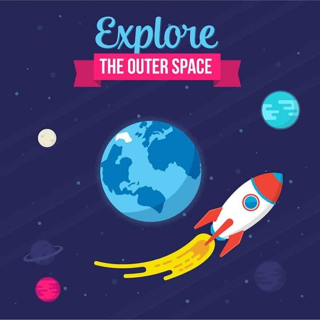 Illustration with a rocket Free Vector
