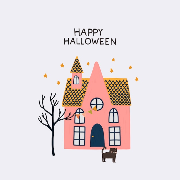 Superb Illustration With Scary House And Black Cat In Hand Drawn Home Interior And Landscaping Synyenasavecom