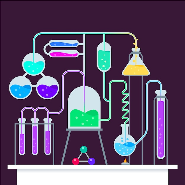 Illustration with science lab Free Vector