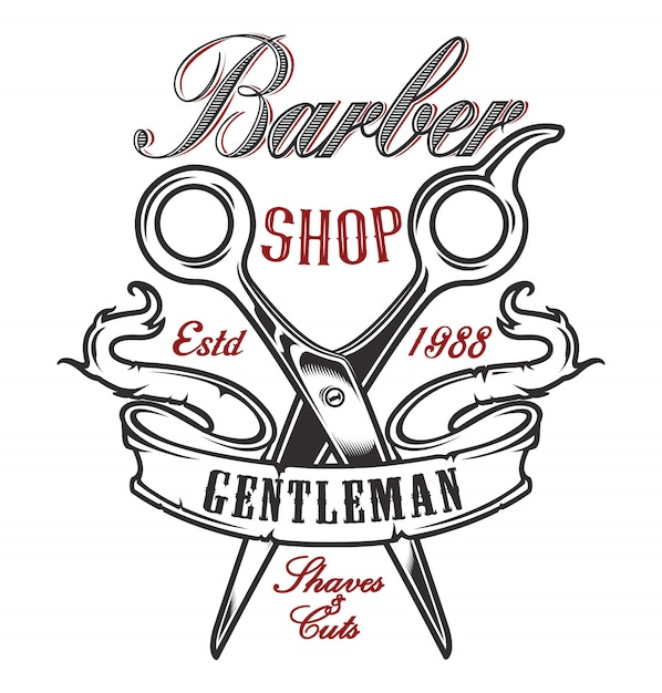 Illustration with scissors for a barber shop on a light background. Premium Vector