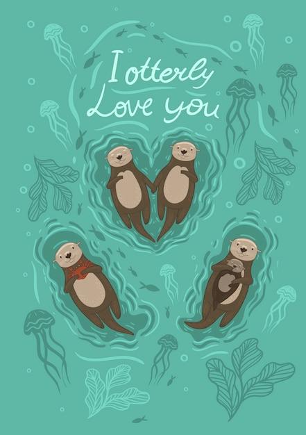해달과 게 그림과 비문 나는 당신을 사랑합니다. 프리미엄 벡터