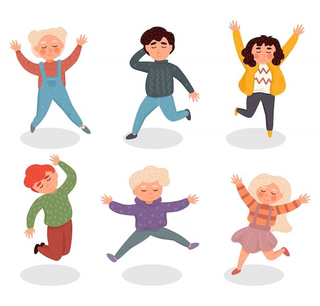 Illustration with simple flat characters - happy smiling kids playing together and jumping Premium Vector